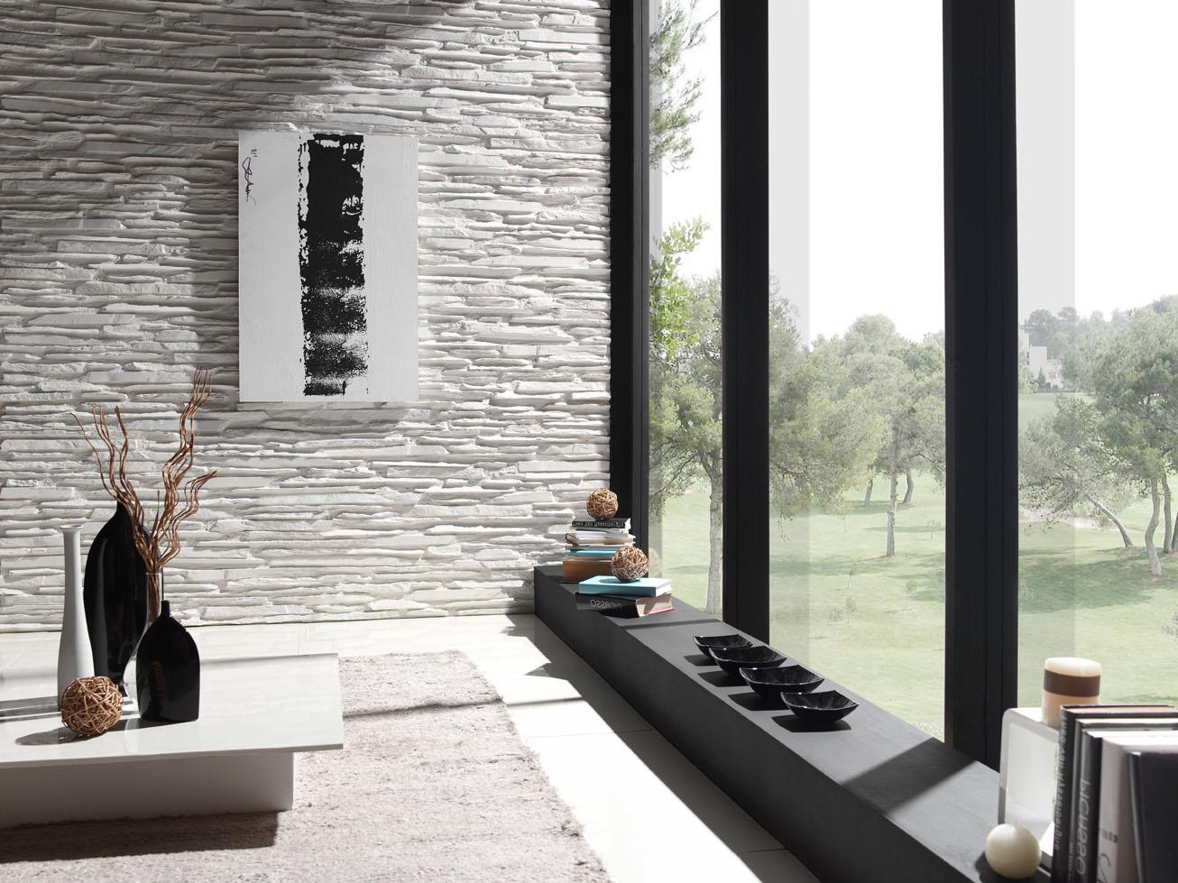 Panel Piedra Laja Fina Revestimiento Para Paredes - Decoracion-con-piedras-en-interiores